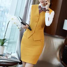 Yellow Skirt Suit Women Sleeveless Vest and Skirt Office Business Waistcoat Wear
