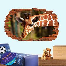 Girafe in wild safari art 3D Smashed Wall Sticker Room Decor Decal murale XD5