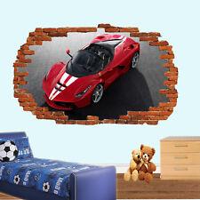 COOL Sport Auto Rosso Ferrari Adesivi Murali 3D Arte Murale Camera Ufficio Negozio Decor TB4