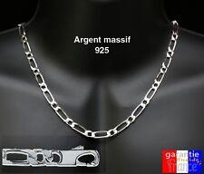 chaine neuve maille figaro alternée en argent massif 925 pour homme large 6mm
