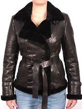 Brandslock Weinlese Damen Frauen Lammfell Leder Fliegen Jacken Mantel Designer