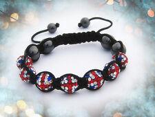 Bracelet style SHAMBALLA 66 strass drapeau anglais LONDON HEMATITE NIALAYA