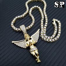 "Hip Hop Baby Angel Pendant & 18"" Full Iced 1 ROW DIAMOND Tennis Choker Chain Set"