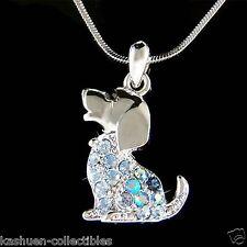 w Swarovski Crystal Cute ~Blue BEAGLE puppy DOG pet charm Pendant Chain Necklace
