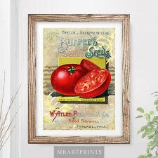 VINTAGE KITCHEN VEGETABLES Art Print Poster Red Tomato Illustration Victorian