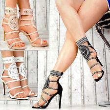 Neu Designer Damen Schuhe Party Sandalen Glitzer High Heels Stilettos SeXy