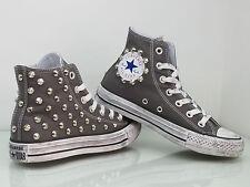 Converse all star Hi borchie  scarpe donna uomo Grigio artigianali