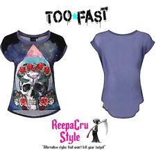 B19 Popular Floral Skulls Skeleton Nala Punk Rock Ladies Alternative Fashion Top