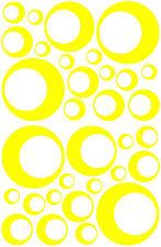 32 YELLOW CIRCLE CIRCLE BUBBLE LOOK BEDROOM WALL DECAL STICKER VINYL GIRL TEEN