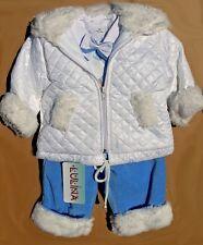 ABITO invernale COMPLETO battesimo cappotto bianco blu cerimonia tg 62-86 c 1858