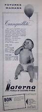 PUBLICITÉ 1960 MATERNA VÊTEMENTS ET LINGES POUR FUTURES MAMANS ET BÉBÉ