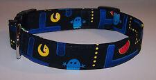 Wet Nose Designs Retro Pac Man Fever Inspired Dog Collar Arcade Games Black