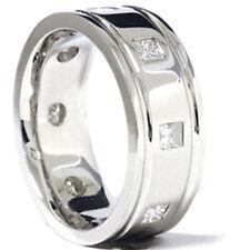 3/4ct Princess Cut Mens Comfort Fit Wedding Band Ring