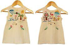 Ethno Kleid weiß beige Gr.62*68, 100% BW Peru, Handarbeit bestickt, Blumen Tiere