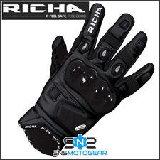 Richa Rock Summer Short Sports Motorcycle Motorbike Leather Gloves - Black