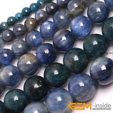 """Natural Stone Blue Kyanite Gemstone Round Beads For Jewelry Making Strand 15"""" YB"""