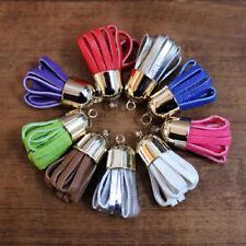 Pompon cuir pendentif - Tête 16 mm  - Taille 40 mm - Lanières colorées de 3 mm