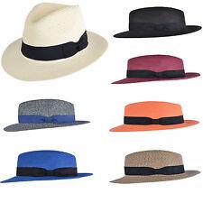 Unisexe froissable paille été panama chapeau borsalino avec bande réglable SUEUR