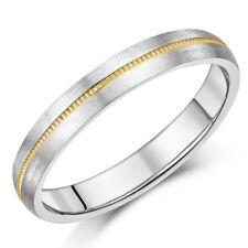 Titanium & 9ct Gold Centre Inlaid Millgrain Design Matt Wedding Ring Band 4/5mm