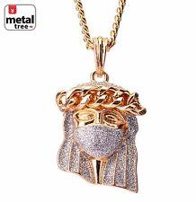 """Men's Hip Hop 14K Gold Plated Mask Crown Jesus Pendant 30"""" Cuban Chain Necklace"""