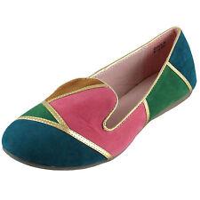 New women's ballet flat ballerina loafer mix color casual work blue pink green