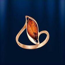 Genuine rose gold 585 /14k AMBER RING  Розовое золото ЯНТАРЬ 2.9 g NWT