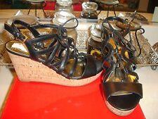 Guess WGelsiee Gelsiee Black leather sandal wedge espadrille 8.5 NWB $99