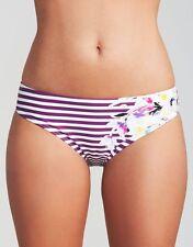 Figleaves Dolly Stripe Classic Bikini Brief Tankini Swim Purple White Floral NEW