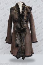 Mesdames 3/4 gold brown des Femmes Véritable Toscana Veste en cuir de peau de mouton trench coat