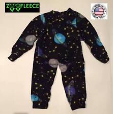 ZooFleece Space Planet Boys Black Kids Pajama PJ Sweatsuit Nightgown Fleece