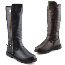 Girls Kids Childrens Zip Up School Winter Casual Biker Mid Calf Boots Shoes Size