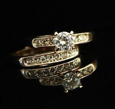 18K White / Rose Gold GP Classic Wedding Engagement Ring Set SWAROVSKI Crystal