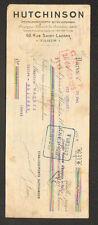"""PARIS (IX°) Caoutchouc / PNEUS VELO MOTO AUTOMOBILE """"HUTCHINSON"""" en 1919"""