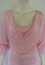 Damen Long-Shirt Shirt Minikleid 3/4-Arm  Wasserfall Rosa  Gr. 38  NEU