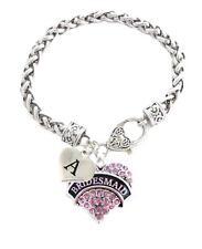 Custom Pink Crystal Bridesmaid Heart Silver Bracelet Gift Jewelry Choose Initial