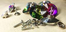 3er Pack 45 mm Strass Polsternägel zum Schrauben Glas Regenbogen oder Crystal AB