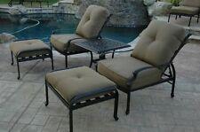 Elizabeth Outdoor Patio 5pc Set Adjustable Club Chairs Cast Aluminum Dark Bronze
