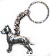 AMSTAFF American Staffordshire Bull Terrier Dog Pewter Keychain Key Chain Ring