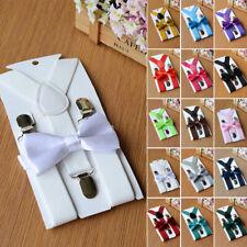 Kids Boys Girls Elastic Braces Wedding Adjustable Suspenders+Bow Tie 2pcs/Set