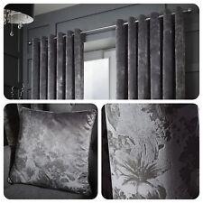 Curtina - DOWNTON Graphite Grey - Floral Damask Eyelet Ring Curtains / Cushions