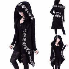 Women Long Sleeve Punk Moon Print Hooded Black Cardigan Jacket Coat Plus Size CA