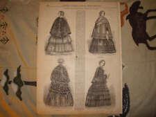 1853 ANTIQUE WOMANS FASHION PRINT CLOAKS CLOTHING NR
