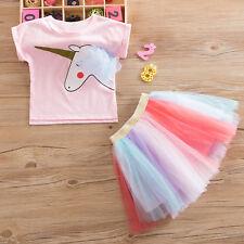 Girls Kid Unicorn Summer Short Sleeve Tops T-shirt + Tutu Skirt Dress Outfit Set
