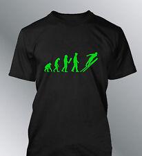 Tee shirt personnalise homme evolution S M L XL humour ski human skiing