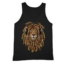 Rasta Lion of Judah Tanktop Headphones Jamaican Rastafari Zion Bob Marley Tank