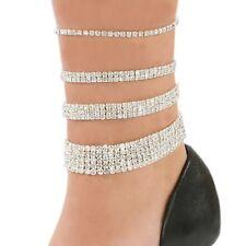 Golden/silver/multi Cristal Diamante elástico anklet/payal Pie Joyas