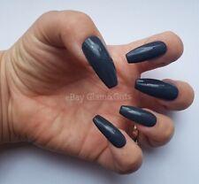 24 Hand Painted False Nails - Dark Grey Full Cover Gel False Nails Tips