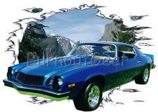1974 Blue Chevy Camaro Custom Hot Rod Mountain T-Shirt 74 Muscle Car Tee's