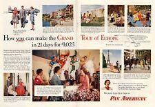 1953 Pan American Pan Am Tour of Europe Riviera Rome London Paris PRINT AD