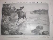 Moose caza en Columbia británica Canadá Charles Sheldon 1908 antiguos impresión